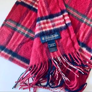 Brooks Brothers 100% Cashmere Red Tartan Scarf